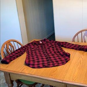 No Boundaries buffalo plaid flannel shirt, jun XL.